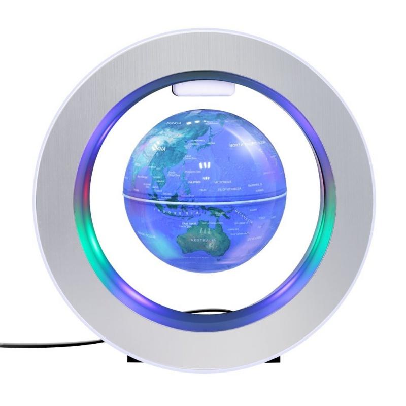 Moon shape magnetic levitation floating world map globe rotating image is loading moon shape magnetic levitation floating world map globe gumiabroncs Image collections